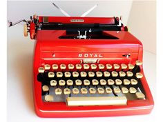 Typewriter Royal Red Quiet Deluxe Vintage by ClearlyRustic on Etsy, $310.00