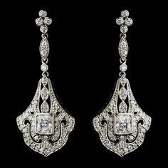 Antique Silver CZ Crystal Vintage Look Wedding Earrings - Affordable Elegance Bridal -