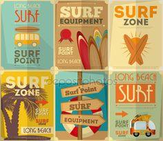 Coleção de cartazes de surf — Vetores de Stock © elfivetrov #48298831