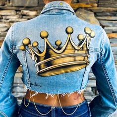 Painted Denim Jacket, Painted Jeans, Painted Clothes, Hand Painted, Denim Art, Look Fashion, Custom Clothes, Denim Jackets, Jean Jackets