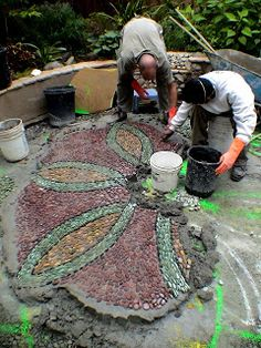 Jeffrey Bale's Mosaic Pilgrimage, a labour of love, a labour of pebbles! Jeffrey Bale's Mosaic Pilgrimage, a labour of love, a labour of pebbles! Mosaic Walkway, Pebble Mosaic, Mosaic Garden, Stone Mosaic, Mosaic Tiles, Wood Walkway, Garden Stones, Garden Paths, Garden Art