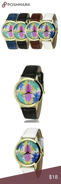 NWT! COLORFUL PINEAPPLE WATCHES!🍍🍍🍍🍍 New trendy, adorable and colorful pineapple pattern quartz watches!🍍 Choose your band color before purchasing choose between black or white.  Features PU leather bands, watches are waterproof, 3 slim hands to indicate seconds, minutes and hour's. To reset the time simply pull the small knob out on the side of the face. 🦉😘🍍🍍 Accessories Watches