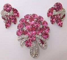 Glorious Vintage Eisenberg Rhodium Plate Pink Crystal Rhinestone Brooch Earrings | eBay