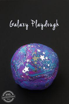 Homemade Galaxy Playdough Recipe! Fun for an outer space unit.