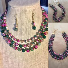 """54 Likes, 1 Comments - Rani Jewelry (@ranijewelry) on Instagram: """"Custom order; marbled agate and gold bead 3 layer statement necklace with matching earrings!…"""""""