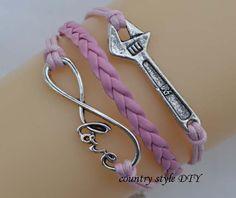 Multicolor optionalCharm love infinity bracelet by CountrystyleDIY, $2.99