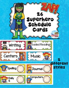 """Class Schedule Cards are a perfect way to create a daily schedule for your kidos. Help them to know what is next with these super cute Superhero Themed Schedule Cards. This set includes 26 schedule cards in 2 different options and a """"Class Schedule"""" header card."""