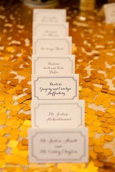 A golden escort card table #weddings #escortcards #blisschicago