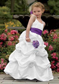 Sash Spaghetti Straps Taffeta Junior Ball Gown Long Bridesmaid Dress