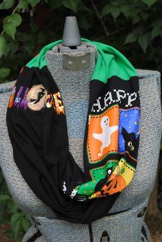 Halloween Upcycled TShirt Infinity Scarf by SeasonedWithStyle, $14.00