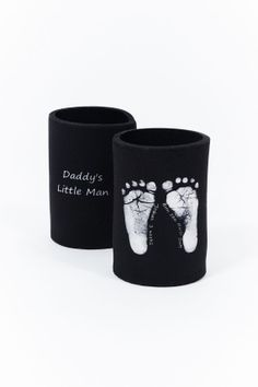 Baby Footprint Stubby Holder, a personalised gift for dad