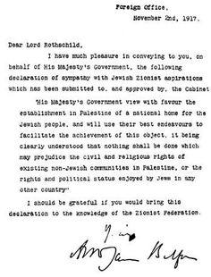 2 novembre 1917 Lord Balfour se déclare disposé à créer en Palestine un «foyer national juif»