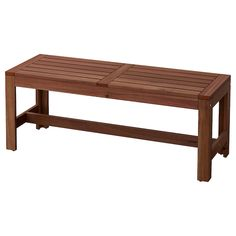 ÄPPLARÖ Bench with wall panel, outdoor, brown stained brown - IKEA Outdoor Dining Furniture, Outdoor Dining Set, Outdoor Wooden Benches, Wooden Furniture, Ikea Outdoor, Outdoor Chairs, Table And Chairs, Dining Chairs, Patio Dining