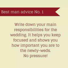 Best Man Advice #1