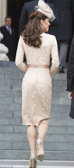 The Duchess of Cambridge wore a nude-coloured Alexander McQueen dress and Jane Taylor hat