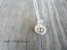 Hand Stamped Necklace   Peace Necklace   Personalized by Jlwhiddon, $20.00