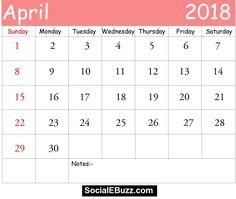 april 2018 calendar with holidays printable