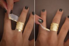 DIY GOLD LEAF (or faux gold leaf) jewelry. Though this diy suggests applying adhesive and leaf directly to skin I would suggest testing skin for sensitivity first.  An alternative could be a cardboard band for wrist or finger. I think using on a couple of nails feet or fingers would also be pretty cool.