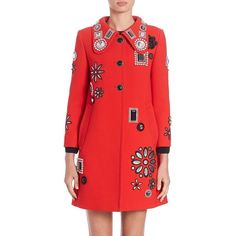 Marc Jacobs Embellished Wool Coat ($5,055) ❤ liked on Polyvore featuring outerwear, coats, apparel & accessories, red, red coat, marc jacobs coats, marc jacobs, embellished coat and woolen coat