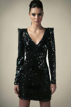 Boutique Nina Shiny Sequin Wrap Front Dress