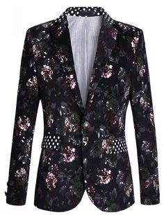 Luxury Gentlemen Floral Blazer With Polka Dot Collar  | www.pilaeo.com  | Men's Fashion