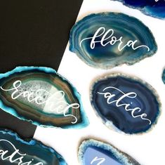 Emmaline Bride - Handmade Wedding Blog Spotted: the most creative place cards you'll ever see, made from geodes! These agate name cards are hand-drawn with your guest names with incredible penmanship by MillieStoneUK. Guests will never… Handmade Wedding Blog Wedding Place Names, Wedding Name Cards, Wedding Places, Pink Names, Name Place Cards, Handmade Wedding, Luxury Wedding, Wedding Stationery, I Card