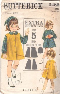 Butterick 3486 1960s Girls Scarf Coat and Dress Childs Vintage Sewing Pattern by mbchills