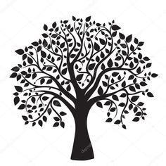 Herunterladen - Schwarz Baum Silhouette auf weißem — Stockbild #10515275