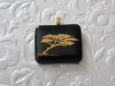 Fused Pendant  Gold Decal  Tree Pendant  Glass by feesfusions