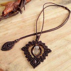 Macrame Necklace Pendant Raw Herkimer Diamon Quartz Stone Waxed Handmade