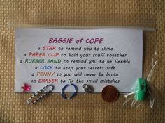 """Adapted from """"Knapsack of Hope"""" - we don't have time to make the cute knapsacks before our Relay for Life, so I came up with the """"Baggie of Cope"""", same idea but used a snack-sized zip lock baggie!"""