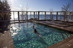 Outdoor hot tub and pool at Bluefin Bay | Minnesota North Shore Resort | Tofte, MN Lutsen