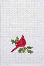"""Red Cardinal & Holly Waffle Weave Christmas Kitchen Towel 18"""" x 27"""""""