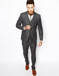Image 1 of ASOS Slim Fit Suit in Herringbone Grey