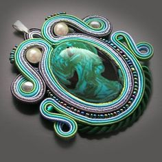 Green Soutache pendant with a large medallion by OnlyLauraDesign, $19.90