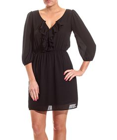 Black Ruffle Blouson Dress