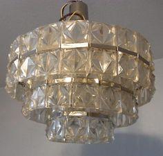 Mid Century 60´s Kinkeldey Style Chrome & Glass ø 20  Chandelier #