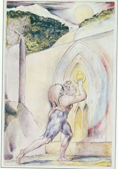 "William Blake illustration for John Bunyan's ""Pilgrim's Progress"":  ""Knock, and it shall be opened."""