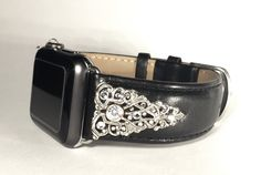 Custom Apple Watch band with Swarovski crystals. Leather and bling. 38mm handmade beautiful gift. Iwatch crystal band with real rhinestones. by CRYSTALandBLING on Etsy https://www.etsy.com/listing/257201257/custom-apple-watch-band-with-swarovski