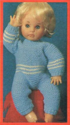 Clothes for dolls - All-in-one sleeping suit (blue with white stripe) - pattern for First Love doll from Your Family, November (One of five outfits in this issue). Doll Patterns, Clothing Patterns, Print Patterns, Knitting Patterns, Knitting Dolls Clothes, Knitted Dolls, Doll Clothes, Tiny Tears Doll, Doll Outfits