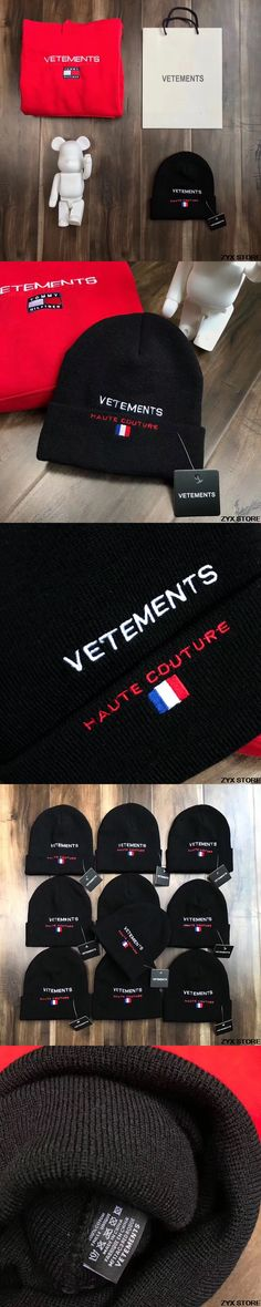2017FW Vetements Women Men Unisex Knitted hat Caps Hiphop France Flag Embroider Caps Hats with bag
