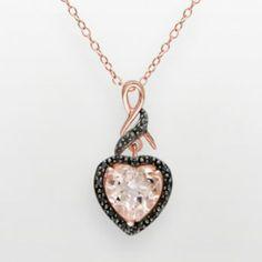 14k Rose Gold Over Sterling Silver Morganite & Black Diamond Accent Heart Pendant