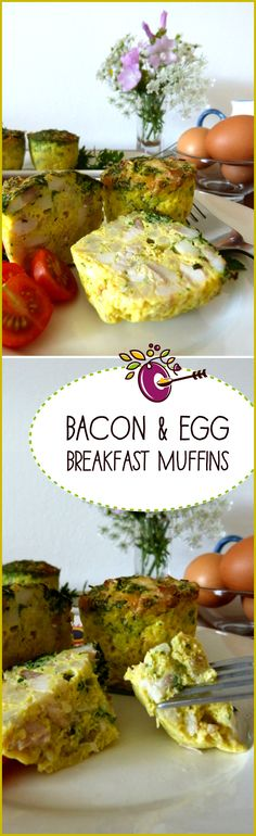 Bacon and eggs in a muffin. Easy to make – just four ingredients. They're nutritionally sound. And they're cute, so the kids'll love them. Click through, make it, share it, rate it!