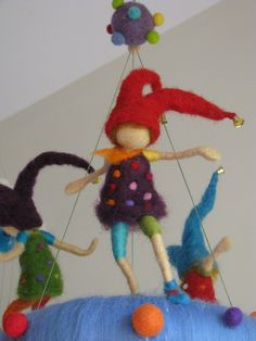 Naughty pixie's needle felted waldorf inspired children mobile. $160.00, via Etsy.