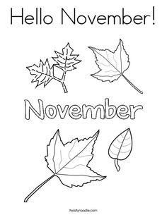 Hello November Coloring Page - Twisty Noodle Preschool Printables, Preschool Worksheets, Toddler Worksheets, Preschool Coloring Pages, Coloring Pages To Print, Handwriting Activities, Hello November, Birthday Cards For Boys, Fall Preschool