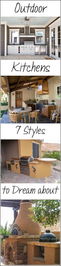 These are fabulous ideas for outdoor kitchens. To dream..........