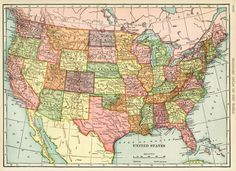 Here is a wonderful antiquemap of the United States. I scanned the map from a dictionary in my collection that was published in 1906. Click on image to enlarge.