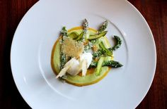 Milanese style green asparagus with parmesan ice cream and egg yolk