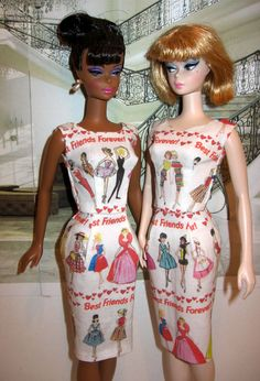 Best Friends Forever Barbie Sheath for silkstone dolls, Everyone needs a good friend to grow up and grow old with.. sunday Best Barbie & Afternoon suit barbie are modeling dresses for you.