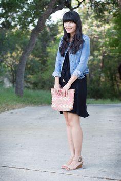 denim jacket, black dress, nude sandal. linda always nails it.